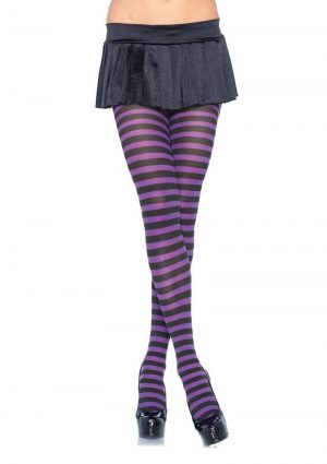 Leg Avenue Striped Tights – Plus Size – Black/Purple
