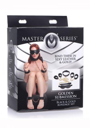 Master Series Golden Submission Bondage Set (4 Piece Kit) - Black/Gold