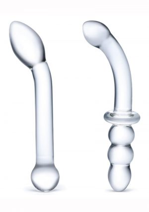 Glas G-Spot Pleasure Dildo Set (2 Piece) – Clear