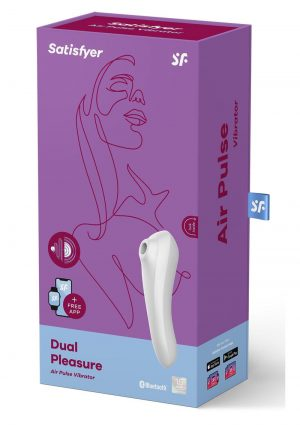 Satisfyer Dual Pleasure Rechargeable Silicone Vibrator With Clitoral Stimulator - White