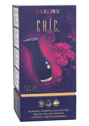 Chic Tulip Silicone Rechargeable Massager - Blue