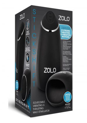 ZOLO Stickshift Squeezable Vibrating andamp; Thrusting Rechargeable Male Stimulator - Black/Silver
