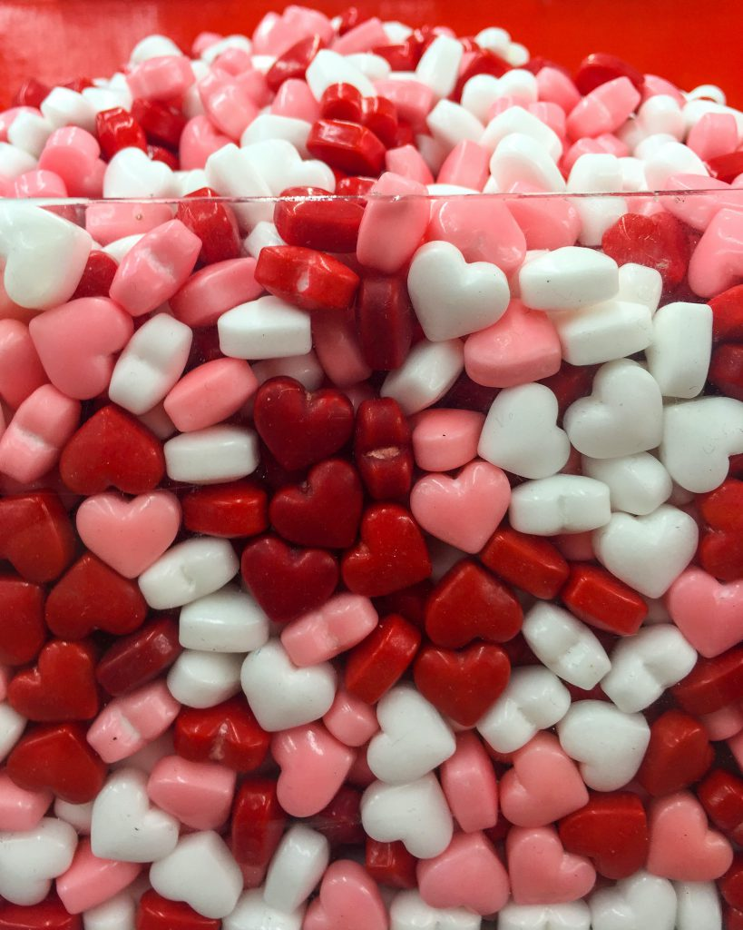 white and red heart candies