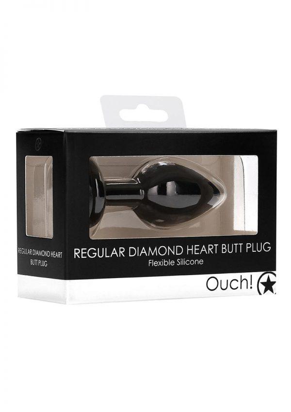 Ouch! Diamond Heart Butt Plug - Regular - Black