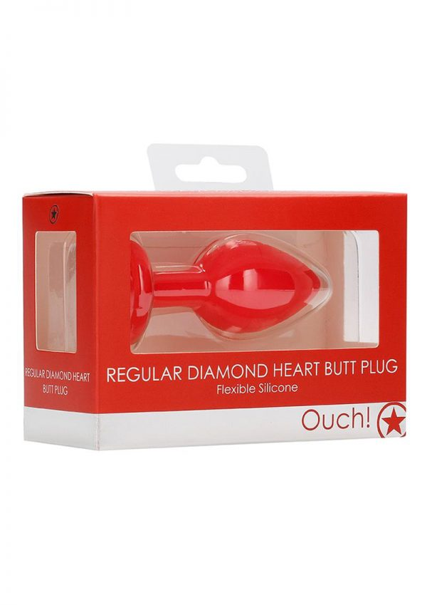 Ouch! Diamond Heart Butt Plug - Regular - Red