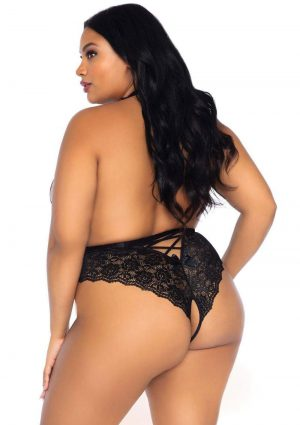 Leg Avenue High Neck Floral Lace Backless Teddy With Lace Up Accents And Crotchless Thong Panty – 1X-2X – Black