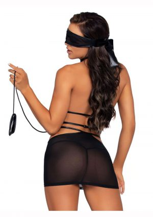 Leg Avenue Cage Strap O-Ring Harness Mini Dress With Attached Leash And Matching Eye Mask (2 Piece) – O/S – Black