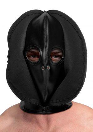 Strict Zip Front Bondage Hood – Black