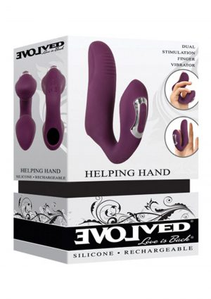 Helping Hand Silicone Rechargeable Finger Vibrator - Purple
