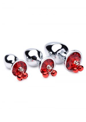 Booty Sparks Red Gem With Bells Anal Plug Set (3 Pieces) – Red