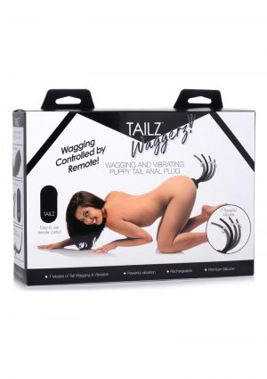 Tailz Waggerz Moving andamp; Vibrating Silicone Rechargeable Puppy Tail With Remote Control - Black