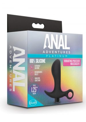 Anal Adventures Platinum Silicone Rechargeable Vibrating Prostate Massager 01 - Black
