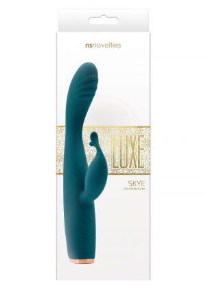 Luxe Skye Silicone Rechargeable Slim Rabbit Vibrator - Green