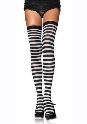 Leg Avenue Plus Size Nylon Stocking With Stripe - 1X-2X - Black/White