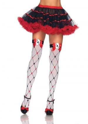 Leg Avenue Woven Diamond Card Suit Thigh High With Bow And Card Charm - O/S - White/Red/Black