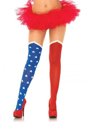 Leg Avenue Hero Opaque Tights With Sheer Thigh - O/S - Blue/Red