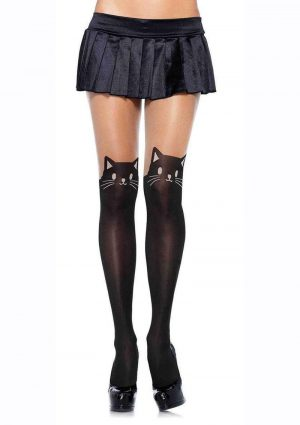 Leg Avenue Black Cat Spandex Opaque Pantyhose With Sheer Thigh Accent - O/S - Black/Nude