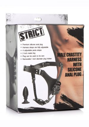 Strict Male Chastity Harness with Silicone Anal Plug - Black