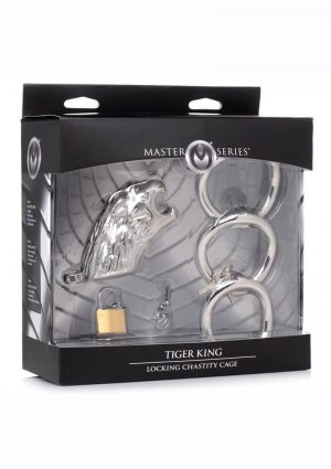 Master Series Tiger King Locking Chastity Cage - Silver
