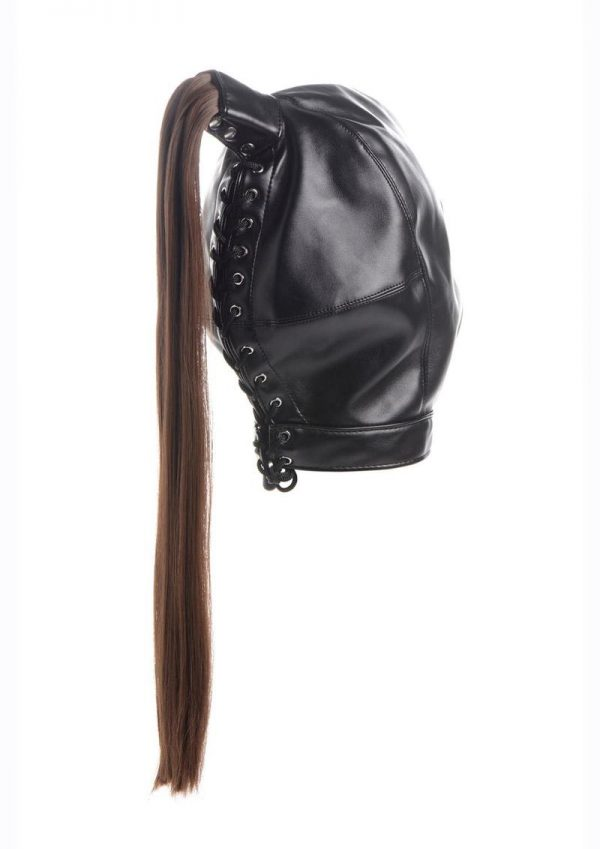 Strict Ponytail Bondage Hood - Black