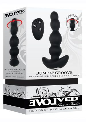 Bump N` Groove Rechargeable Silicone Anal Plug With Remote Control - Black