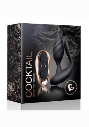 Cocktail Rechargeable Silicone Couples Vibrator With Remote Control - Black/Rose Gold