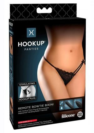 Hookup Panties Silicone Rechargeable Bowtie Bikini With Remote Control- SM/LG - Black