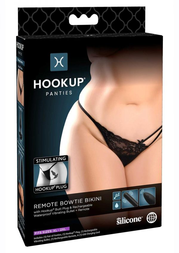 Hookup Panties Silicone Rechargeable Remote Control Bowtie Bikini - XL/2XL - Black