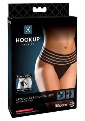 Hookup Panties Crotchless Love Garter - SM/LG - Black