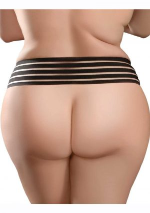 Hookup Panties Crotchless Love Garter - XL/2XL - Black