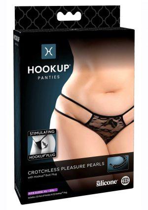 Hookup Panties Crotchless Pleasure Pearls - XL/2XL - Black