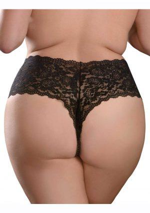 Hookup Panties Pleasure Pearl Boy Shorts - XL/2XL - Black