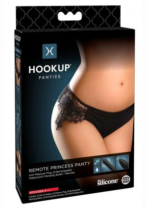 Hookup Panties Silicone Rechargeable Princess Panty With Remote Control - SM/LG - Black