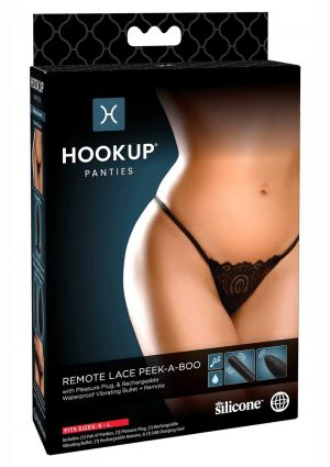 Hookup Panties Silicone Rechargeable Lace Peek-a-Boo With Remote Control- SM/LG - Black