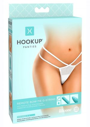 Hookup Panties Silicone Rechargeable Bowtie G-String With Remote Control - SM/LG - White/Blue