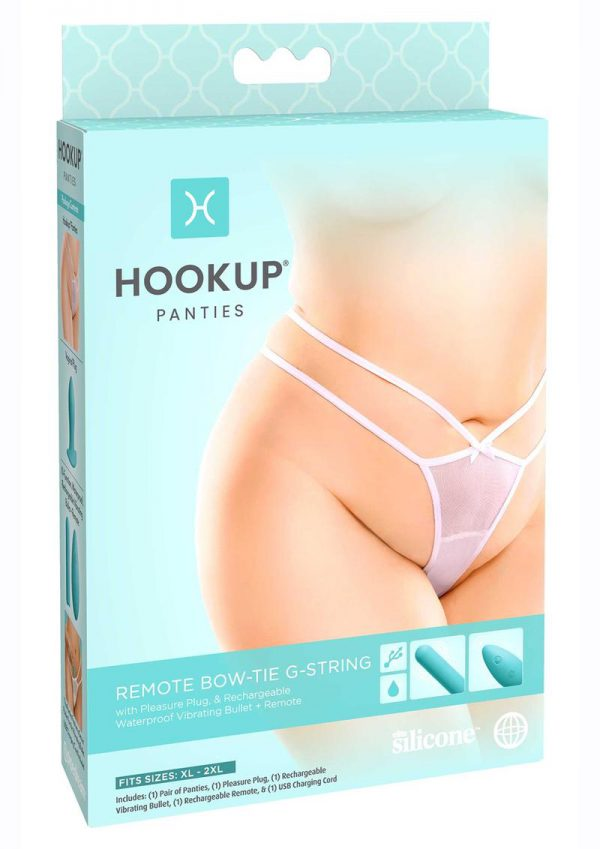 Hookup Panties Silicone Rechargeable Bowtie G-String With Remote Control - XL/2XL - White/Blue
