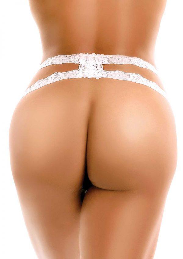 Hookup Panties Crotchless Secret Gem - SM/LG - White/Blue