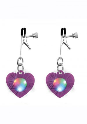 Charmed Silicone Light-Up Heart Nipple Clamps – Purple
