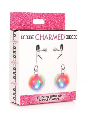 Charmed Silicone Light-Up Nipple Clamps - Pink